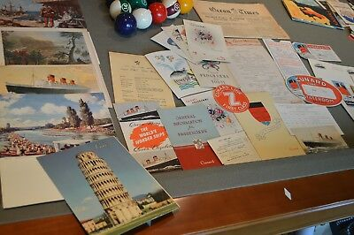 Huge vintage 1956 Cunard SS Cruise Line LOT luggage labels, menus RMS Queen Mary