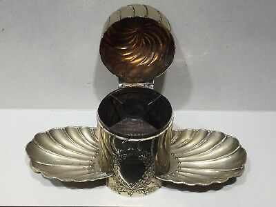 Antique Victorian Silver Plated Vesta Cigarette Match Striker Holder & Ashtray
