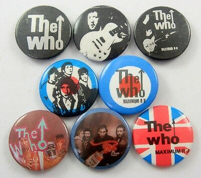 THE WHO Button Badges 8 x Vintage The Who Pin Badges