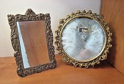 2 Vintage Small Brass Picture Frames