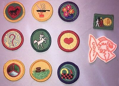 Lot Of 11 Unused Vintage Girl Scout Patches, Badges Most Retired Early 1990's
