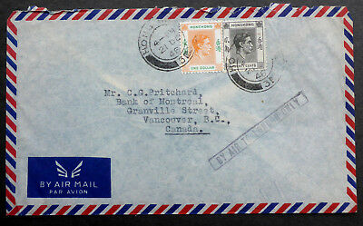 1946 Hong Kong $1.20 Rate Air Mail  Cover To Vancouver Via London