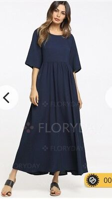 6195046970bec1 Floryday Cotton Maxi Summer Dress Short Sleeve A Line Midi Navy Small S