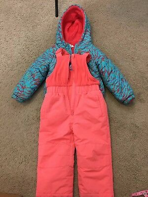 Girl's SLALOM 2 Piece Ski Snow Suit Puffy Coat Size 3T Pink Blue Hooded