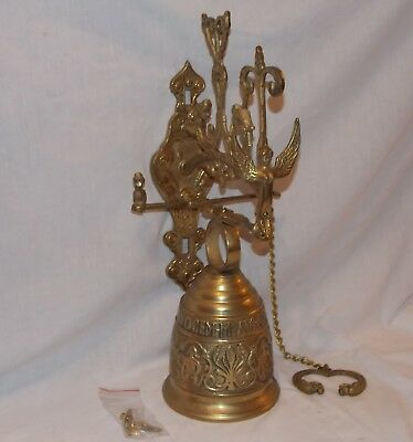"""Whoever touches me will hear my voice"" Brass Door Dinner Bell Wall Vintage"