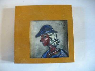 "Vtg Hand Painted Framed Ceramic Tile Woman with hat SIGNED Mid Century 6 1/2"" sq"