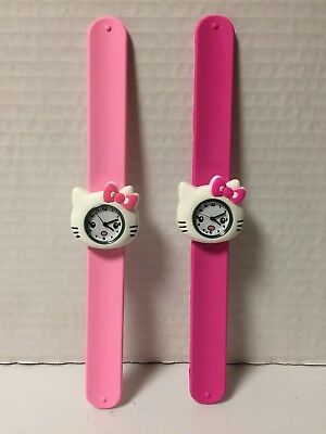 NEW Lot of 2 Kitty Silicone Snap On Wrist Watch For Kids