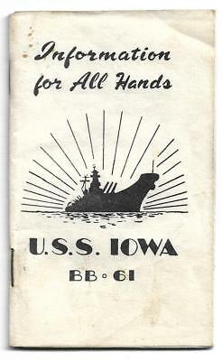 1952 military bklt,U.S.S. Iowa,,BB-61,Information for all hands