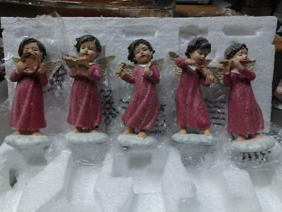 Set of 5 Musical Angels with Gift Bags by Valerie Parr Hill - Red Angel Figures