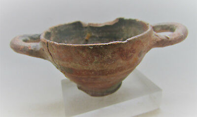 Scarce Ancient Greek Decorated Terracotta Skyphos Cup With Handles