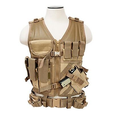 NcSTAR CTVL2916T 2XL Tan Tactical Military MOLLE X-Draw Combat Assault Vest