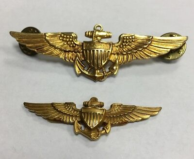 WW2 United States Navy Aviator Pilot's Wings Badge 1/20 10K GF HH LGB Set Of 2