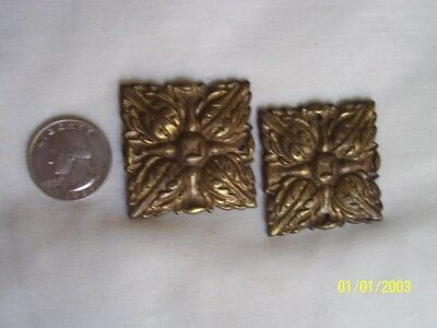 Two Solid Brass Antique Cabinet Decor Floral Plates