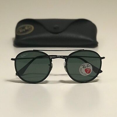33511cc589f NEW RAY-BAN ROUND Double Bridge Black RB3647N 002 58 51-22 POLARIZED ...
