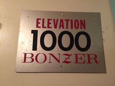 Rare BONZER Elevation Airport Sign Airplane Aviation Aluminum Advertising c1973