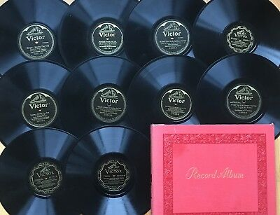 """Lot of 10 PRE-WAR VICTOR~Jazz~Fox-Trot~10"""" 78s 78rpm~All Listed~w/ Book~CLEAN!"""