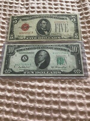 1928 Red Seal $5 And 1950 A $10 AA Block Lot Of 2