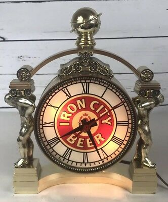 "Iron City Beer Clock Lighted Up Counter or Wall Sign Statue Tested 11X9"" RARE"