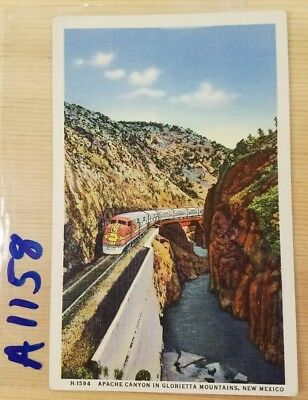 Fred Harvey Linen postcard view, Apache Canyon, Glorietta Mountains, New Mexico