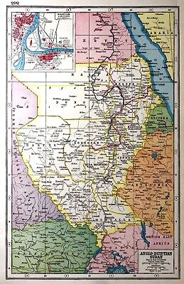 Vintage Antique Original 1920 Print Map Of Anglo- Egyptian Sudan