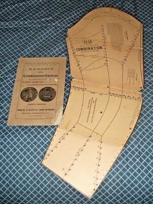 1893 R.S.BAILEY'S NEW COMBINATION Sewing Patterns-Book+Pattern Piece