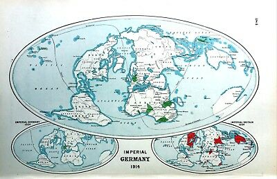 Vintage Antique Original 1920 Map Print Of Imperial Germany In 1914
