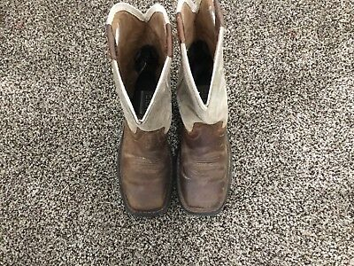 ariat work boots Suede Leather Pull On Boys Size 1