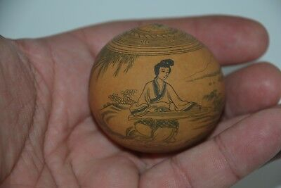 Vintage Chinese Calabash Gourd Richly Decorated with Nanquim China Ink #1