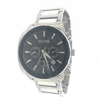 BULOVA 96B203 Men's Watch 41mm Chronograph Black Dial Stainless Steel Quartz