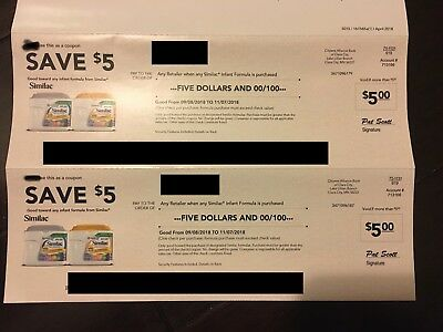 Similac Baby Infant Formula Check Coupon Value $10 Total (2 Checks Value $5 Each