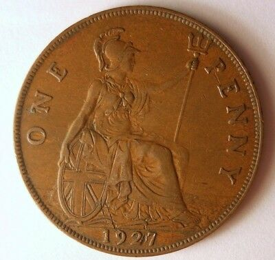 1927 GREAT BRITAIN PENNY - High Quality Coin - FREE SHIP - Britain Bin F