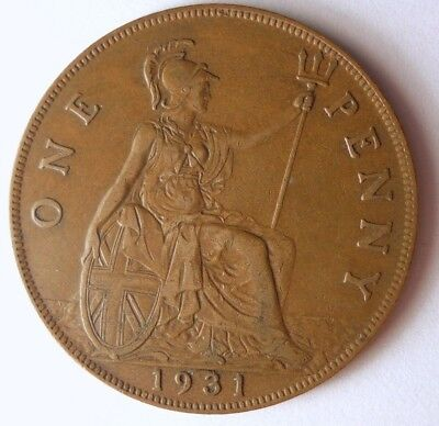 1931 GREAT BRITAIN PENNY - High Quality Coin - FREE SHIP - Britain Bin F