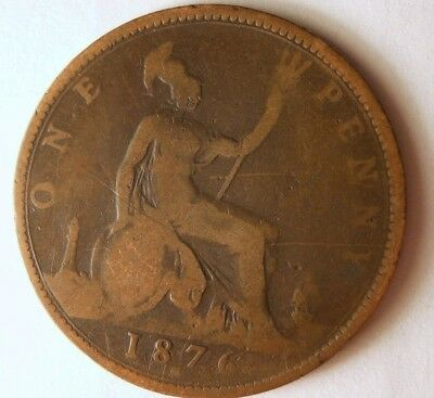 1876 H GREAT BRITAIN PENNY - High Quality Coin - FREE SHIP - Britain Bin F