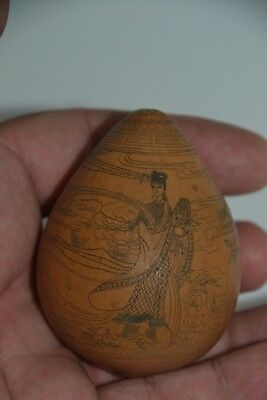Vintage Chinese Calabash Gourd Richly Decorated with Nanquim China Ink #3