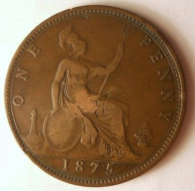 1875 GREAT BRITAIN PENNY - High Quality Coin - FREE SHIP - Britain Bin F
