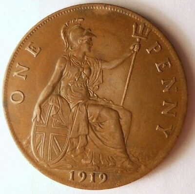 1919 GREAT BRITAIN PENNY - High Quality Coin - FREE SHIP - Britain Bin F