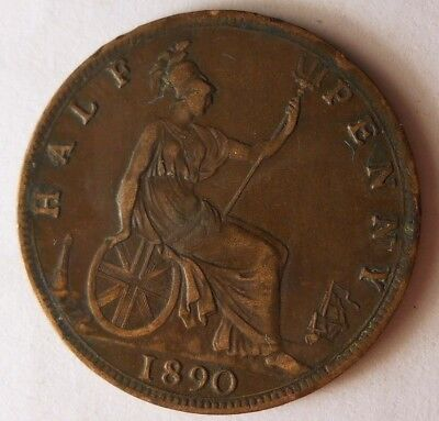 1890 GREAT BRITAIN 1/2 PENNY - High Quality Coin - FREE SHIP - Britain Bin F