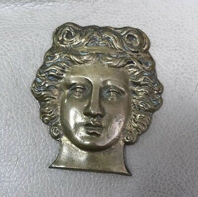 ANTIQUE GILT BRONZE Architectural Salvage Furniture Hardware Piece Figural Ram