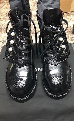 57cd67cadbc BNIB CHANEL COMBAT Boots Black Leather with pearl detail size 38 ...