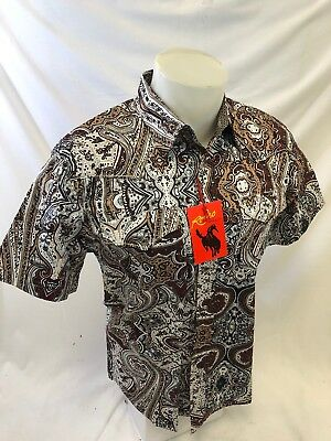 Mens RODEO WESTERN BLUE PAISLEY SHORT SLEEVE Snap Up Shirt COWBOY STYLE 150 NWT
