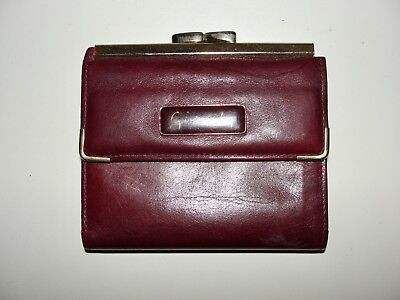 Vintage Givenchy*lovely!!burgundy Red Leather Gold Frame Snap Wallet Coin Purse