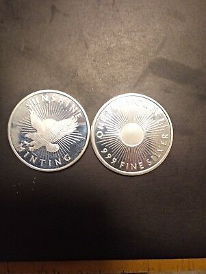 ( Lot of Two)- 1 Troy Oz. Sunshine Minting Silver Eagle Rounds