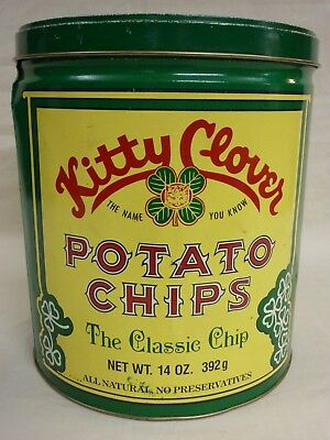 Vintage 1983 Kitty Clover Potato Chips Can The Classic Chip Snacktime Co.