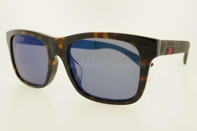 e28436a063f1a GUCCI GG0008SA 003 54Mm Gg0008S a Havana Brown Frame With Blue Mirror  Lenses New -  209.10
