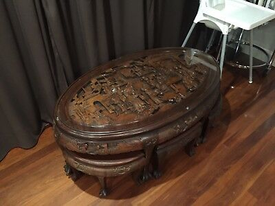 RARE Teak ANTIQUE Asian ORIENTAL Table & 6 STOOLS Highly DETAILED QZZQ Adelaide