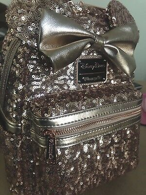 Disney Loungefly Rose Gold Sequin Mini Backpack Bag WDW Smooth Backing Back NEW