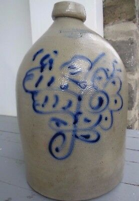 Ithaca NY Stoneware BRIGHT Blue Crock Abstract Flower 2g Jug 1870 Cornell Primit
