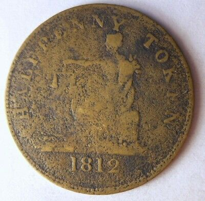 1812 LOWER CANADA 1/2 PENNY - Rare Brass Type Coin - Lot #117