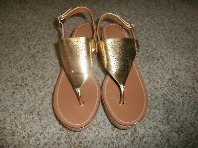 fe9b7ce2996 TORY BURCH Laser Cut Gold Leather Ankle Strap Thong Sandals Women s flats  10M