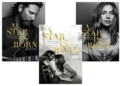 A Star is Born: Bradley Cooper, Lady Gaga  A5 A4 A3 Movie Posters